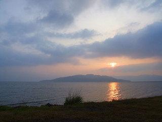 砂湯キャンプ場からの夕陽のながめ