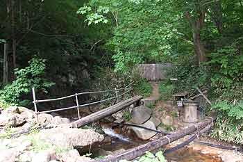 朝日温泉の丸木橋