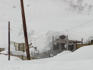 豪雪の中の露天風呂