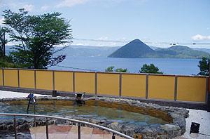ポロモイの露天風呂からの洞爺湖の眺め